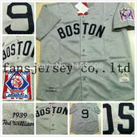 Wholesale Cotton Shirts Cheap - 2016 New free ship. cheap men's 2014 top quality Red Sox 9 Ted Williams throwback  retro Baseball Jersey shirt