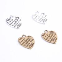 Wholesale Lettering Metal Bracelet - Vintage Lettering Heart Charms Antique Silver Bronze Pendant Fit Bracelets Necklace DIY Metal Jewelry Making 100pcs lot 415