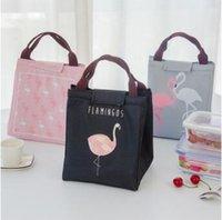 Wholesale Cooler Warmer Bags - 4 Colors Flamingo Tote thermal Bag Black Waterproof Oxford Beach Lunch Bag Food Picnic Warm Cool Keeper Unisex Cooler Bag CCA8164 50pcs