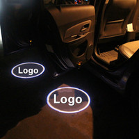 Wholesale Car Logo Led Projection - 2pcs Wireless Car Door Welcome Light For Most Cars Car LOGO Projection LED Universal Lamp No Interface Inductive Switch Light Bulbs