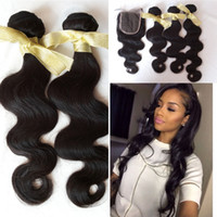 Wholesale Cheap Hair Fast Shipping - G-EASY Hair with lace closure 4x4 cheap Cambodian body wave 3bundles sale with top closure DHL fast shipping