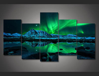 Wholesale Floral Picture Frames - 5 Piece Framed Printed aurora borealis Painting on canvas room decoration print poster picture canvas wall art modern