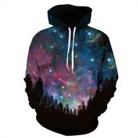 Wholesale Womens Sweatshirts Xl Hoodie - 3D Hoodies Mens Womens Sweatshirts Space Galaxy Tree Print Hoodie Universe Starry Sky Graphic Unisex Pullover Tracksuit
