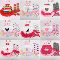 Wholesale Tutu Shoes For Babies - Newest Two Sister tutu Rompers dress 4 PCS set long sleeves for baby Girls NewTutu Dress tutu romper & ruffles legwarmer & headband & shoes