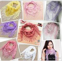 Wholesale Lace Scarves For Wholesale - Scarfs For Women Brand Scarf Chiffon Plain Flowers Lace Hijabs 20 Colors Choice Wraps Selling Hot Free Shipping