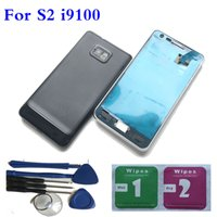 Wholesale Back Cover Battery S2 - NEW Full Housing Back Battery Door Cover+ Tools For Samsung Galaxy S2 i9100 Black White