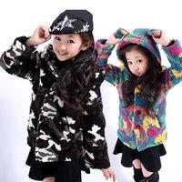 Wholesale Children S Animal Sweater Coats - Children's wear winter style girl add wool lovely bear ear hooded cuhk camouflage cuhk children with thick overcoat woollen sweater ZJ1278