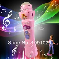 Wholesale Pink Kids Microphone - 2016 Gifts for Your Kids New Pink Wireless LED Microphone Mic Baby Wonderful Toys Karaoke Singing For Children Musical