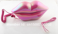 Wholesale Telephone Sexy Lips - Wholesale-Free shipping Sexy analog Hot Pink Lip Home Desk Plastic Wired Telephone phone-3016
