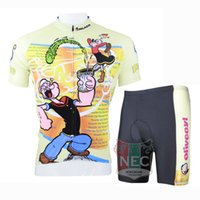 Wholesale Green Sailor Shorts - 085 POPEYE SAILOR Unique Men Short Sleeve Cycling Kit Bike outlet ciclo Jersey + Shorts Plus Size maillot Gel pad Geniune Paladin