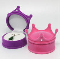 Wholesale Rose Jewelry Case - Ring Necklace Boxes pink blue Rose purple jewelry box New Creative Girl Jewel Crown Box Case hot wedding jewellery gifts