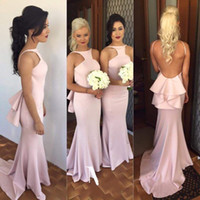 Wholesale halter dress pockets - Elegant Long Mermaid Bridesmaid Dresses 2015 Pink Halter Backless Bridesmaid Gowns For Wedding Cheap Woman Formal Party Dresses Plus Size