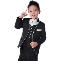 Wholesale Baby Blue Tuxedo Jacket - In Stock 2015 Black boys wedding suits Prince baby boy suits for wedding Toddler tuxedos men suits(Jacket+vest+pant+tie) Custom Made