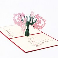 ingrosso 3d albero di schede pop up-Wholesale-3D Pop Up Card Handmade Cherry Tree Anniversary Valentine Christmas Grazie You-Y103