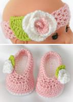häkeln weiße babystiefel großhandel-Häkeln Baby-Mädchen Booties häkeln Babyschuhe und Stirnband Set mit weißen Blumen 0 - 12M Light Pink / White