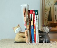 Wholesale Resin Bookends - 2017 New Design High Quality Book Holder 2pcs Cat Small Resin Bookend Desk Shelf for Birthday Gift