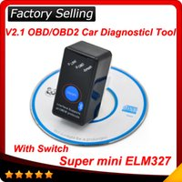 Wholesale Bmw Work - 2017 Super Mini ELM327 Bluetooth ELM327 OBD2 OBD ii CAN-BUS Diagnostic Car Scanner Tool+Switch Works on Android Symbian Windows