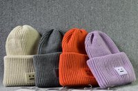 Wholesale Smile Hats - band tag Acne winter square smile face knitted hats cashmere thickening warm Men women Beanie Skull Caps tide street hip-hop wool cap