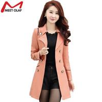 Wholesale- Trench Coat Women 2017 Spring Autumn Female Casual Double-Breasted Long Coats Overcoat Windbreaker Raincoat casaco feminino YL34