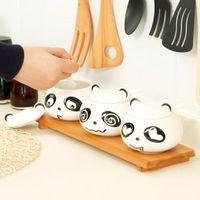 Discount salt boxes - Wholesale- Free shipping creative Moe Moe panda ceramic spice jar three-piece, cartoon panda seasoning box, Sugar salt shaker C1483