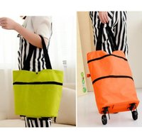 Wholesale Portable Shopping Trolley - Shopping Trolley Bag With Wheels Portable Foldable Shopping Bag reusable storage Shopping Wheels Rolling Grocery Tote Handbag KKA3218