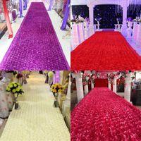 Wholesale Luxury Napkins Wholesale - New Arrival Luxury Wedding Centerpieces Favors 3D Rose Petal Carpet Aisle Runner For Wedding Party Decoration Supplies 14 Color Available