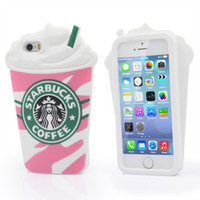 Wholesale 3d Cute Cartoon Case Cover - New Cute 3D Cartoon Case Cover Starbucks Unique Style soft Silicone Cover phone Case For iPhone 5 5S 5G iphone 6