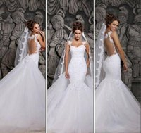 Wholesale Sweetheart Transparent Wedding Dress - 2015 Designers White Lace And Court Train Illusion Transparent Back Mermaid Wedding Dresses With Removable Train Bridal Dresses Tulle