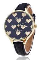 Wholesale Geneva Heart - 2016 Hot Women's New Fashion Thin Leather Strap Women Geneva Watch Hot Casual Love Heart Quartz Watches DHL free