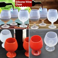 Wholesale Glasses For Cocktails - Outdoor Portable Rubber Wine Beer Glass Standing Goblet Silicone Cup Wine Glasses New Design Fashion For Camping BBQ