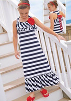 Wholesale Stripe Bowknot Dress - 2015 New Girl Beach Dress Cotton Blue White Stripe Red Bowknot Sundress Girl Holiday Dress 100005