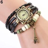 эйфелева башня браслет смотреть оптовых-женская мода винтаж женские часы эйфелева башня кожаный браслет кварцевые часы часы 09FN