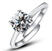 Wholesale Cz Adjustable Ring - Wholesale-Free shipping Adjustable new Charming AAA CZ diamond wedding Rings for women Gift Platinum plated silver Jewelry new Personality