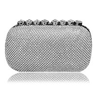 Wholesale Silver Rhinestone Evening Bags - NEW Rhinestones women evening bags heart clutch women handbags evening bags silver diamonds evening bag