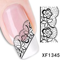 Wholesale Lace Nail Decals - Free Shipping Sexy 3D Black Lace Flower Design Nail Art Stickers Decals For Nail Tips Nail Decoration Self Adhesive 1Sheet
