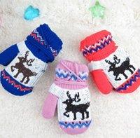 Wholesale Christmas Presents For Kids - Wholesale- Fashion Christmas present for Kids Cartoon Cute Little Deer Lanyard Gloves Girls Children Mittens Winter Warm wool Glove guantes