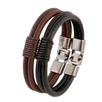 Wholesale Cord Star Bracelets Wholesale - Star Models Braided Leather Cord Round Bracelets Hand Strap Leather Strap Wrist Band 2 color options