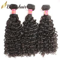 dhl kıvırcık saç toptan satış-Malezya Kıvırcık Saç Bakire Saç Kraliçe Saç Ürünleri İnsan Saç Uzantıları Doğal Renk Saç Örgüleri 3 adet / grup Bella Saç DHL Ücretsiz Kargo