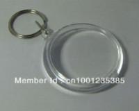 Wholesale Blank Acrylic Round Circle Keychains - Free shipping 100pcs Blank Acrylic Round Circle Keychains Insert Photo Keyrings 1.8'' 4.6cm keyring finder keychain logo