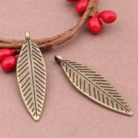 Wholesale Leaf Necklace Bronze - Free Shipping Wholesale Alloy Metal Antique Bronze Leaf Charms For Jewelry Craft DIY 50Pcs 35x9mm YY7632