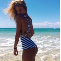 UTTUSexy High Cut One Piece Bandage Backless Swimwear One Piece Swimsuit 2016 Hot Black White Navy Striped Мягкий ремешок Monokini