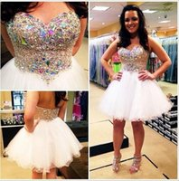Wholesale Sweetheart Neckline Ruffles Mini - Sparkling Beaded Crystals Bodice A Line Party Dresses with Lovely Sweetheart Neckline Short Tulle White Skirt Custom Made Homecoming Gowns