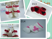 Wholesale tall girl winter shoes resale online - 4 color hot sale handmade Crochet baby girl shoes Baby Booties soft bottom baby handmade shoes snow tall waist booties newborn toddler shoes