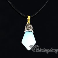 Wholesale Mom Jewellery - six pyramid birthstone pendants mom birthstone necklace semi precious stones jewellery semi precious necklaces agate semi precious stone