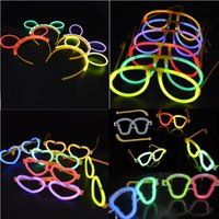 Wholesale Neon Stick Luminous - NEON LUMINOUS GLOW STICKS OVAL SKULL HEART EYEGLASSES EYE GLASSES HEADBAND Birthday Party Supplies Decoration Christmas Hollowen