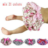 Wholesale infant girls shorts bloomers resale online - Mix colors Baby Bloomers Girls Pettiskirt TUTU underwear Panties Toddle Kids Underpants infant newborn ruffled satin PP pants Kids Cloth