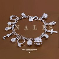 Wholesale Crystal Bracelet Swarovski - Super beautiful high-quality 925 Silver Swarovski Elements Crystal fashion charm cross star lovely bracelet Cheap jewelry Holiday gifts H166
