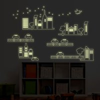 Wholesale Car Sticker Tree - Glow In the Dark Car and Building City Construction PVC Wall Stickers Decal Luminous Car Road Tree Building Wall Art Murals Decor