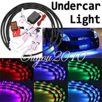 Wholesale Led Under Car Lights Kit - Free Shipping 4pcs 7 Colors 252 LED Bulbs Under Car Auto Glow Neon Lights Strip Kit With Remote Control Sound