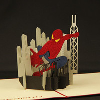 spider sculpture - Hot sale D Kids Birthday spider man Greeting Cards Handmade Paper Sculpture Creative Gift Cards